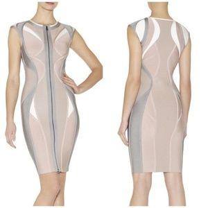 Hervé Léger Agnese Pink/Silver Color-Block Dress